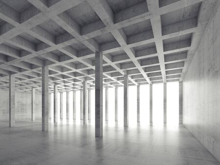 interior cell: Abstract architecture background, perspective view of empty concrete room, 3d illustration