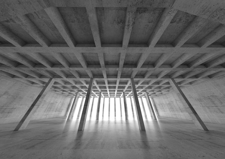 wide angle: Abstract architecture background, wide angle perspective view of empty concrete room, 3d illustration