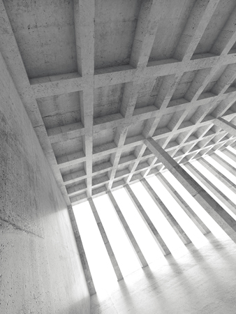 concrete background: Abstract architecture background, empty concrete room with columns, vertical 3d illustration
