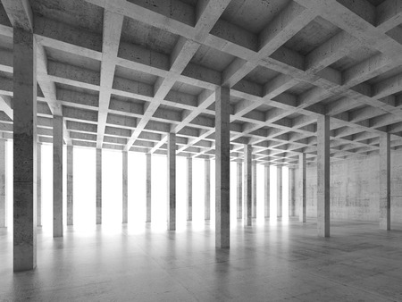 office space: Abstract architecture background with perspective view of empty concrete room, 3d illustration