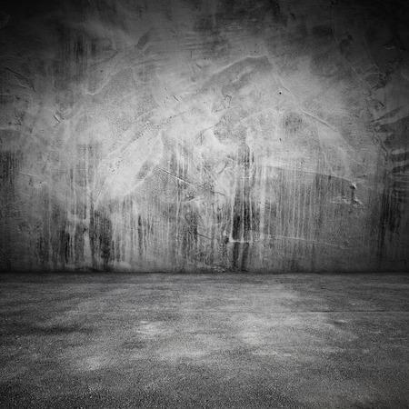 コンクリートの床と壁と汚れた、正方形内部の抽象的な背景