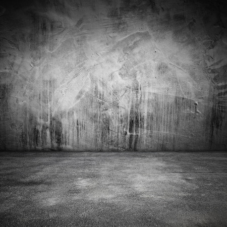 Abstract grungy square interior background with concrete floor and wall Standard-Bild