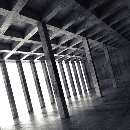 modern architecture: Abstract square architecture background, empty dark concrete room with columns, 3d illustration