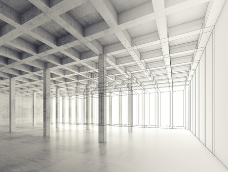 open space: Abstract architecture background with perspective view of empty open space concrete room, 3d illustration, wire-frame effect Stock Photo