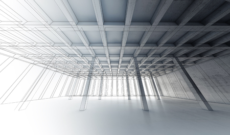 wide angle: Abstract architecture wide angle background with perspective view of open space concrete room, 3d illustration with wire-frame lines