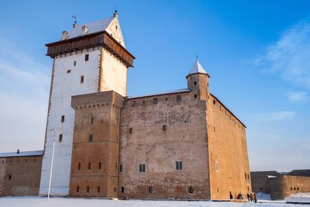 herman: Hermanni linnus or Herman castle in Narva. Estonia. Winter season