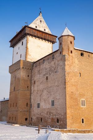 herman: Herman castle or Hermanni linnus in Narva. Estonia. Winter season, vertical composition