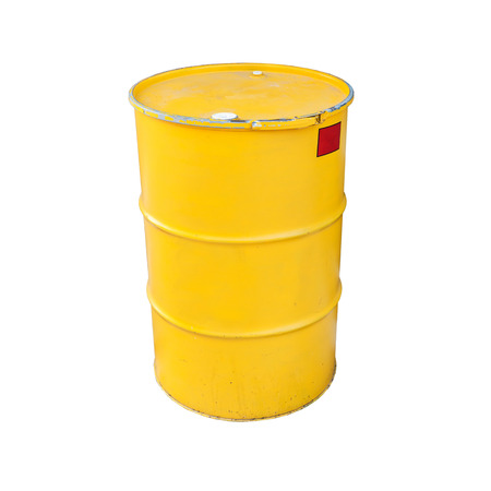 chemical hazard: Yellow metal barrel isolated on white background