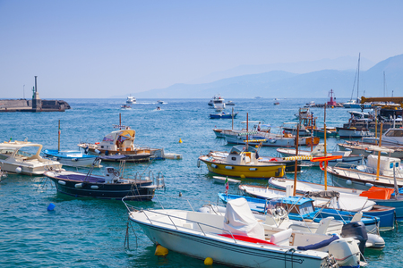 motorboats: Moored pleasure motorboats in port of Capri island, Italy