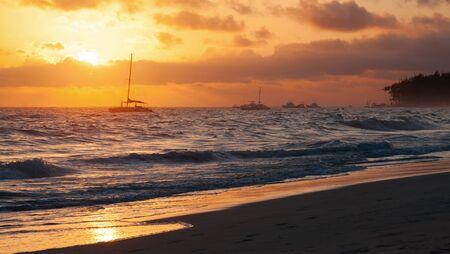 colorful sunrise: Colorful sunrise over Atlantic ocean. Dominican republic, Punta Cana beach