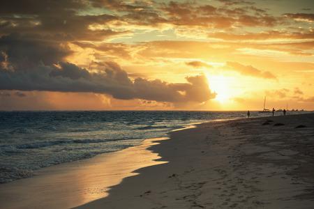 Sunrise over Atlantic ocean. Dominican republic, Punta Cana beach landscape. Colorful tonal correction photo filter effect