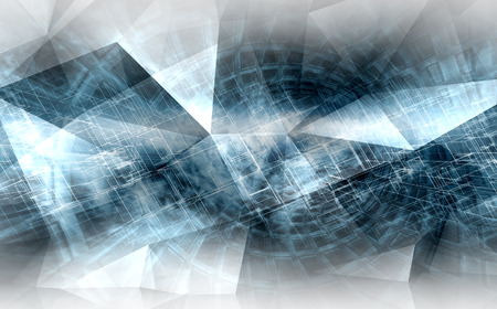 cg: Abstract blue and white digital background, high-tech cg concept with chaotic polygonal structures, 3d illustration useful as a screen wallpaper Stock Photo