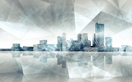 抽象的な現代的な都市の景観のスカイライン。混沌とした多角形構造層、マルチ露出効果の地面上の反射と青いトーン 3 d イラスト