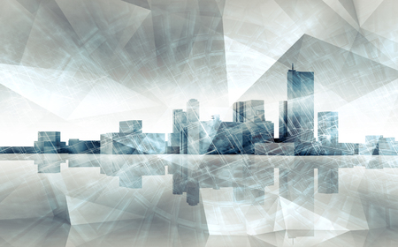 Abstract modern cityscape skyline. Blue toned 3 d illustration with reflection on ground and chaotic polygonal structures layer, multi exposure effect