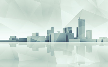 Abstract modern cityscape skyline. Blue toned 3d render with reflection on ground and polygonal structure layer 版權商用圖片