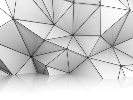 cg: Abstract white 3d interior, chaotic polygonal relief pattern on the wall with black metal wire-frame mesh structure Stock Photo