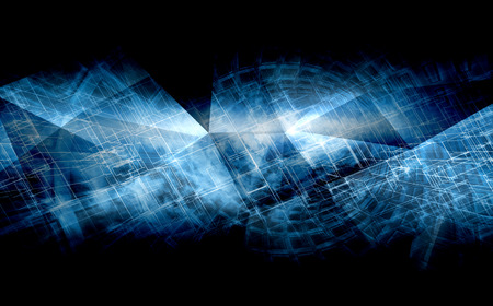 Abstract black and blue digital background, high-tech cg concept with chaotic polygonal structures, 3d illustration useful as a screen wallpaper