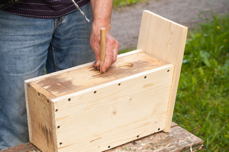 chippy: Homemade birdhouse made of wood under construction, carpenter works with drill Stock Photo
