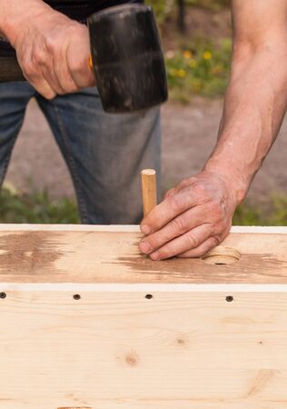 chippy: Birdhouse made of wood is under construction, carpenter works with rubber hummer