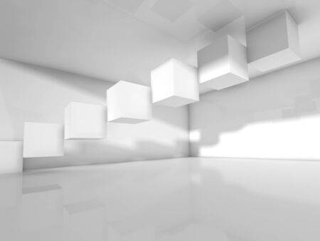 installation: Abstract modern interior design with cubes installation. Empty white architecture background, 3d illustration