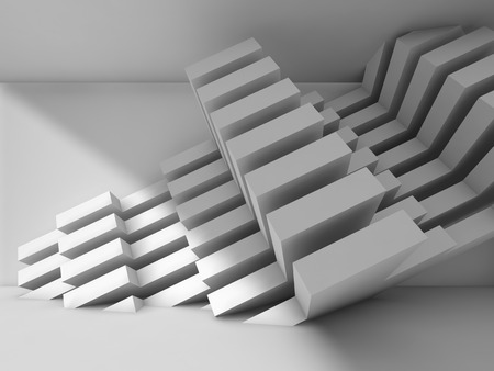 installation: Abstract modern interior design with geometric installation on the wall. White architecture background, 3d illustration Stock Photo