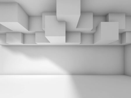 architecture design: Abstract modern interior design with cubic ceiling installation. White architecture background, 3d illustration Stock Photo