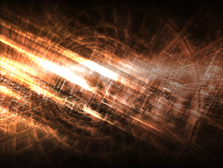 high end: Abstract dark digital background, bright glowing chaotic structures, 3d illustration Stock Photo