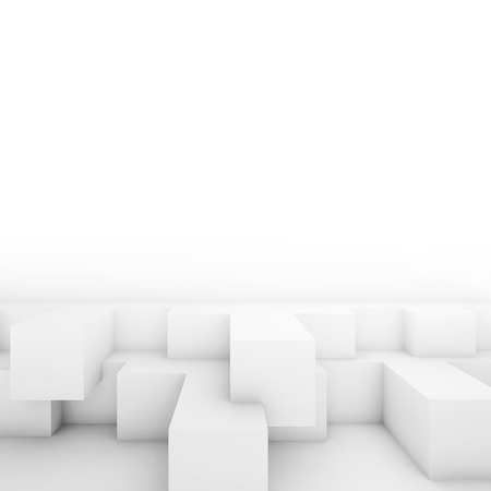 abstract cubes: Abstract cubic structures. White square architecture background, 3d illustration Stock Photo