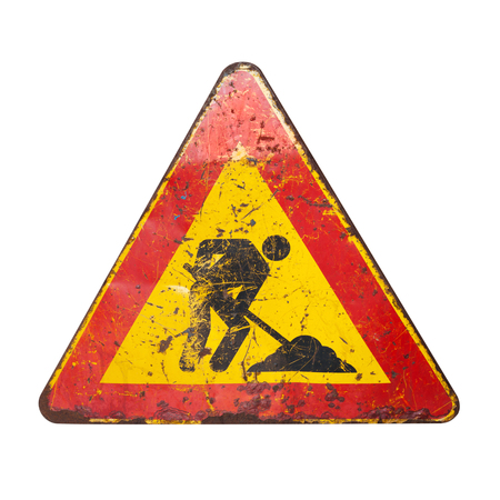under construction sign: Triangle red and yellow roadsign isolated on white background. Men at work, road under construction