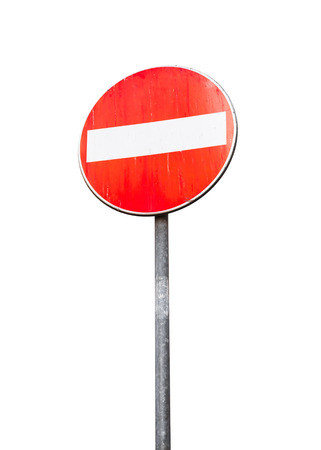 Round red sign No Entry on metal pole isolated on white