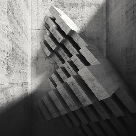 installation: Abstract square interior design. Modern concrete installation in empty room. Architecture background, digital 3d illustration Stock Photo