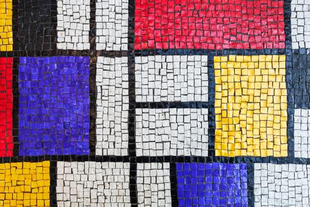Square stone tiling mosaic, colorful background texture Banque d'images