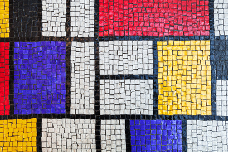 mosaic: Square stone tiling mosaic, colorful background texture Stock Photo