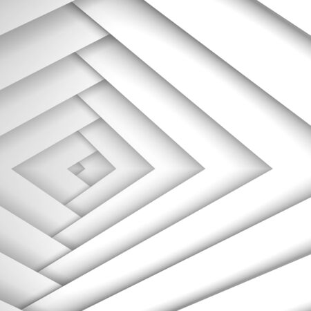3d: Abstract white geometric background with white corners pattern, 3d illustration Stock Photo