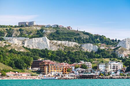 balchik: Summer cityscape with public beach of Balchik town, Black Sea coast, Varna region, Bulgaria Stock Photo