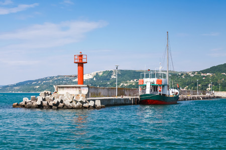 balchik: Entrance pier in port of Balchik. Coast of the Black Sea, Varna region, Bulgaria