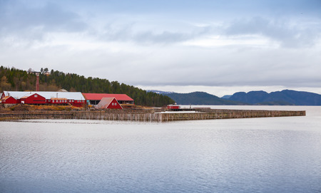 salmon fishery: Traditional Norwegian fish farm with red wooden houses on the seacoast