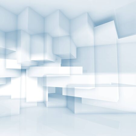 cubic: Abstract blue and white background with chaotic cubic structures, 3d illustration, double exposure effect