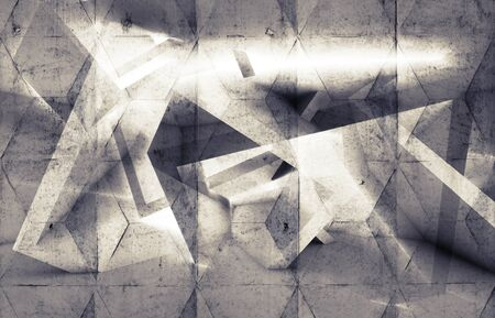 concrete background: Abstract digital background with concrete wall texture and chaotic geometric pattern, 3d illustration Stock Photo