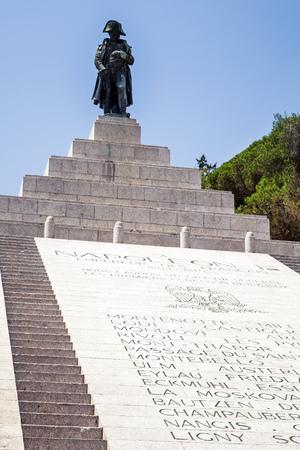 bonaparte: Ajaccio, France - July 6, 2015: Napoleon Bonaparte as First imperator of France. Statue in Ajaccio, the capital of Corsica, a French island in the Mediterranean Sea, hometown of Napoleon