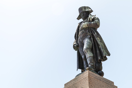 imperator: Ajaccio, France - July 6, 2015: Napoleon Bonaparte as First imperator of France. Statue in Ajaccio, the capital of Corsica, French island in the Mediterranean Sea, hometown of Napoleon Editorial