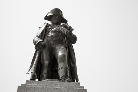 austerlitz: Ajaccio, France - July 6, 2015: Napoleon Bonaparte as First imperator of France. Statue in Ajaccio, the capital of Corsica, French island in the Mediterranean Sea, monochrome photo