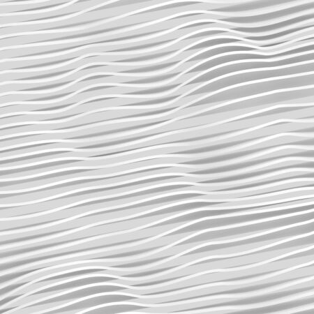 stripes pattern: Abstract white wavy stripes pattern. Square digital 3d illustration, background texture