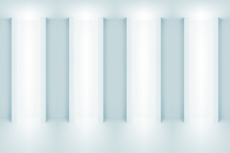 niches: Abstract light blue architecture background. Wall with light niches. 3d illustration Stock Photo