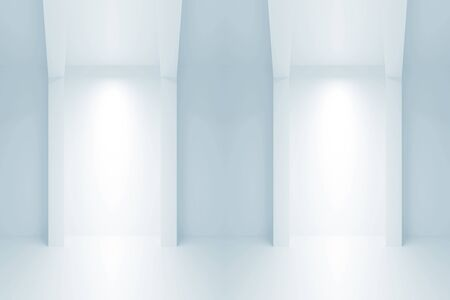 niches: Abstract light blue empty architecture background. Interior with light niches. 3d illustration