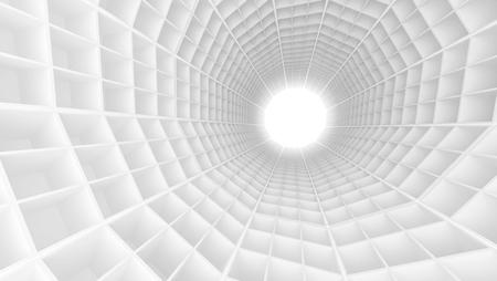 perspectiva lineal: interior del t�nel blanco con baldosas extrudidas tecnol�gicos y extremo encendido. Ilustraci�n digital 3d