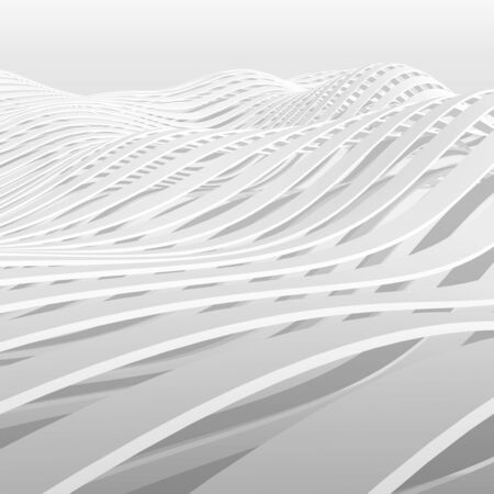 3d abstract backdrop: Abstract white wavy stripes pattern background, square digital 3d illustration Stock Photo