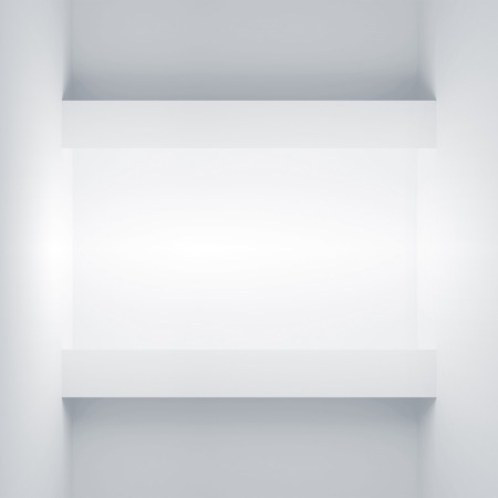 niche: Abstract white architecture background. Wall with empty light niche. 3d illustration