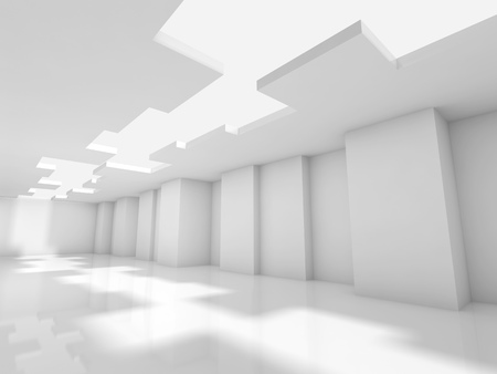 ceiling design: Abstract white modern office interior design with corners and ceiling illumination. Architecture background, 3d illustration