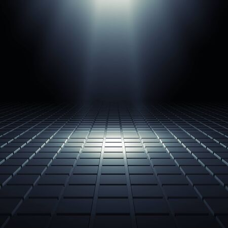 black light: Abstract black shining digital interior background with square relief pattern on floor and blue spot light illumination, 3d illustration Stock Photo